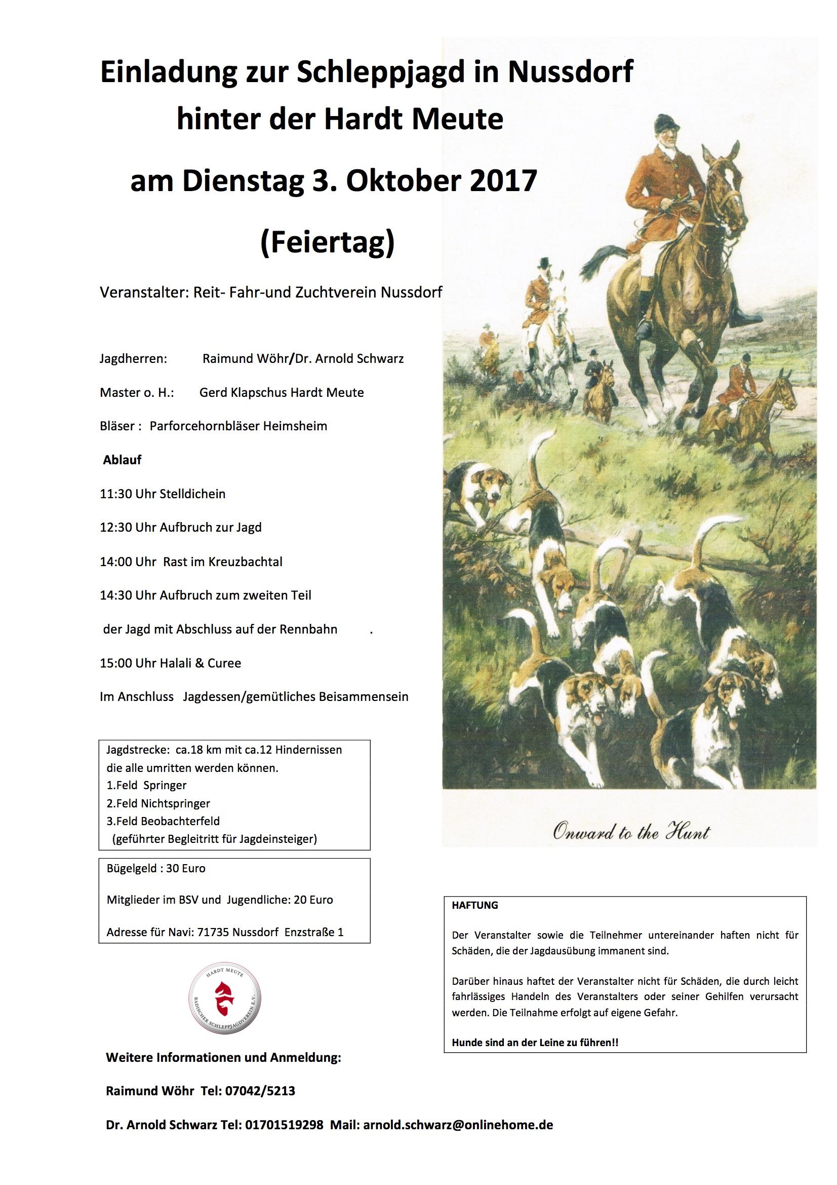 3 10 Einladung Schleppjagd Nussdorf Hardt Meute